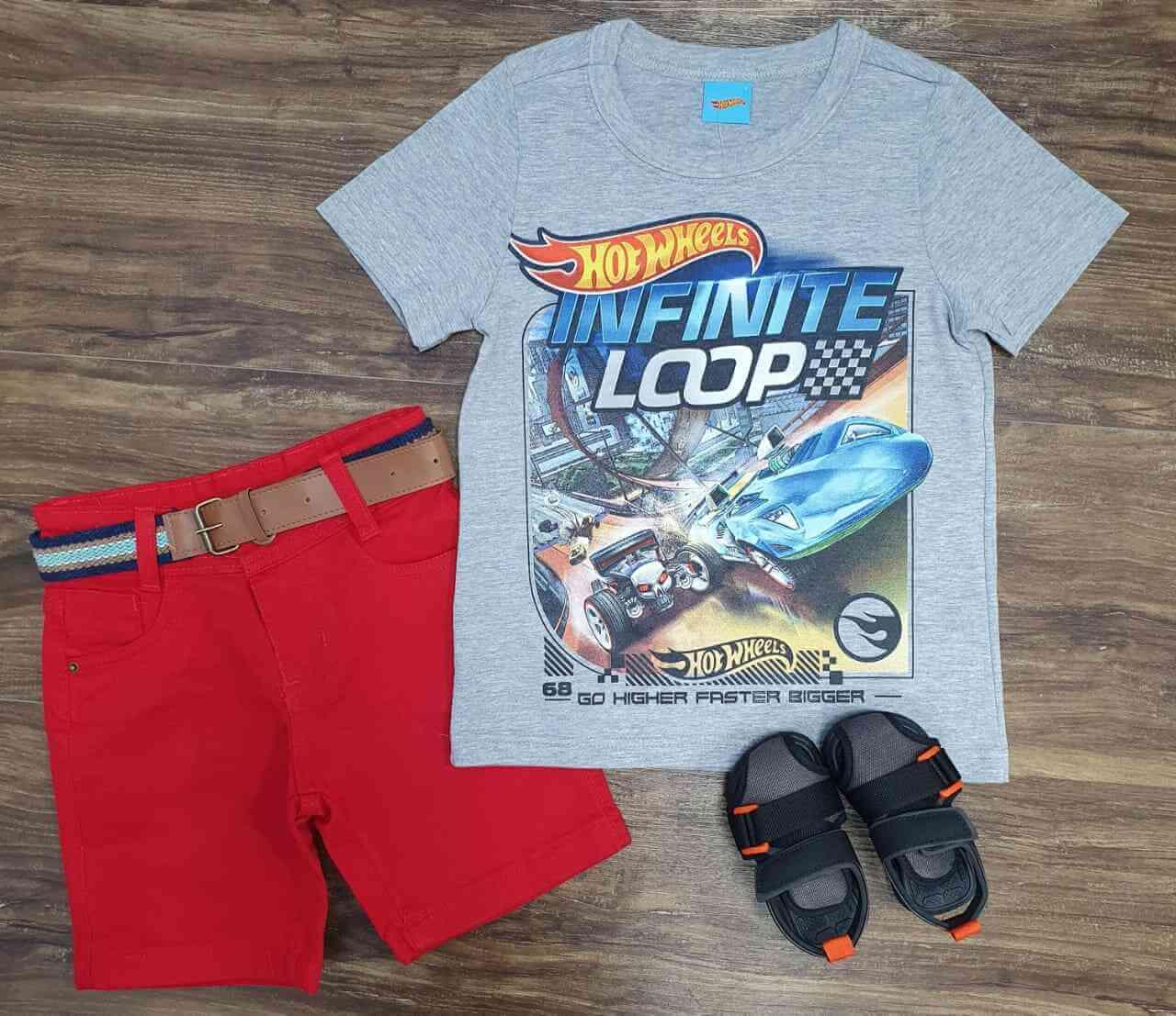 Bermuda com Camiseta Hot Wheels Infantil