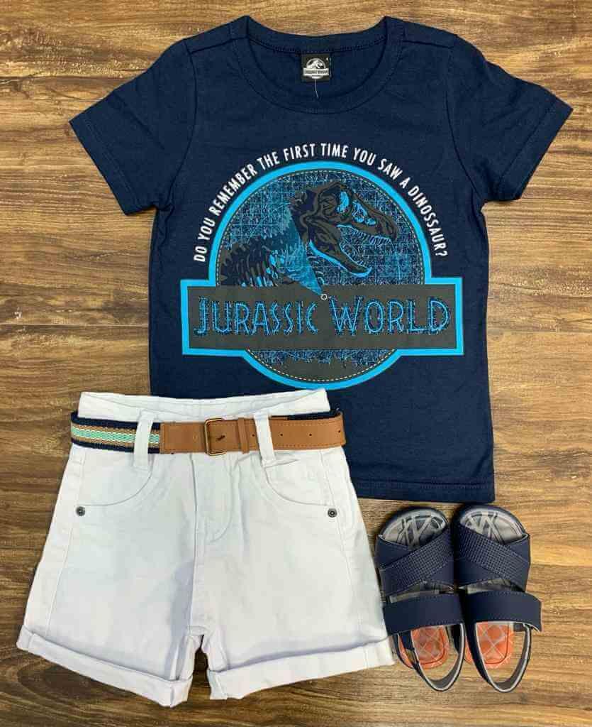 Bermuda com Camiseta Jurassic World Infantil
