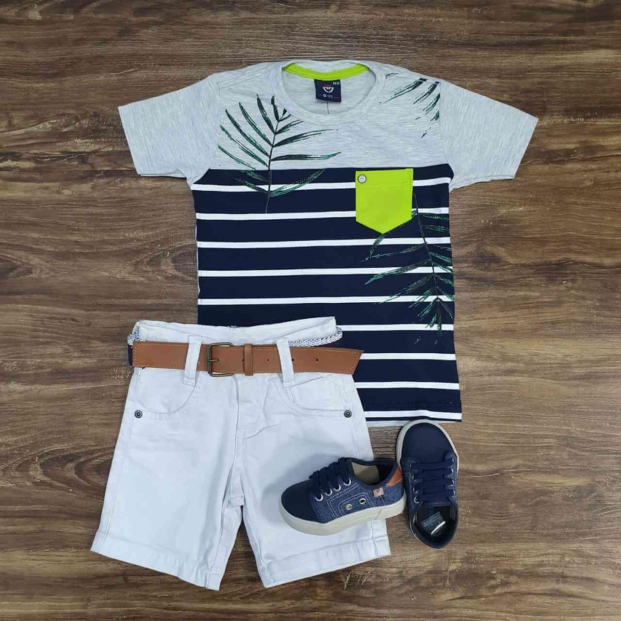 Bermuda com Camiseta Listrada Infantil