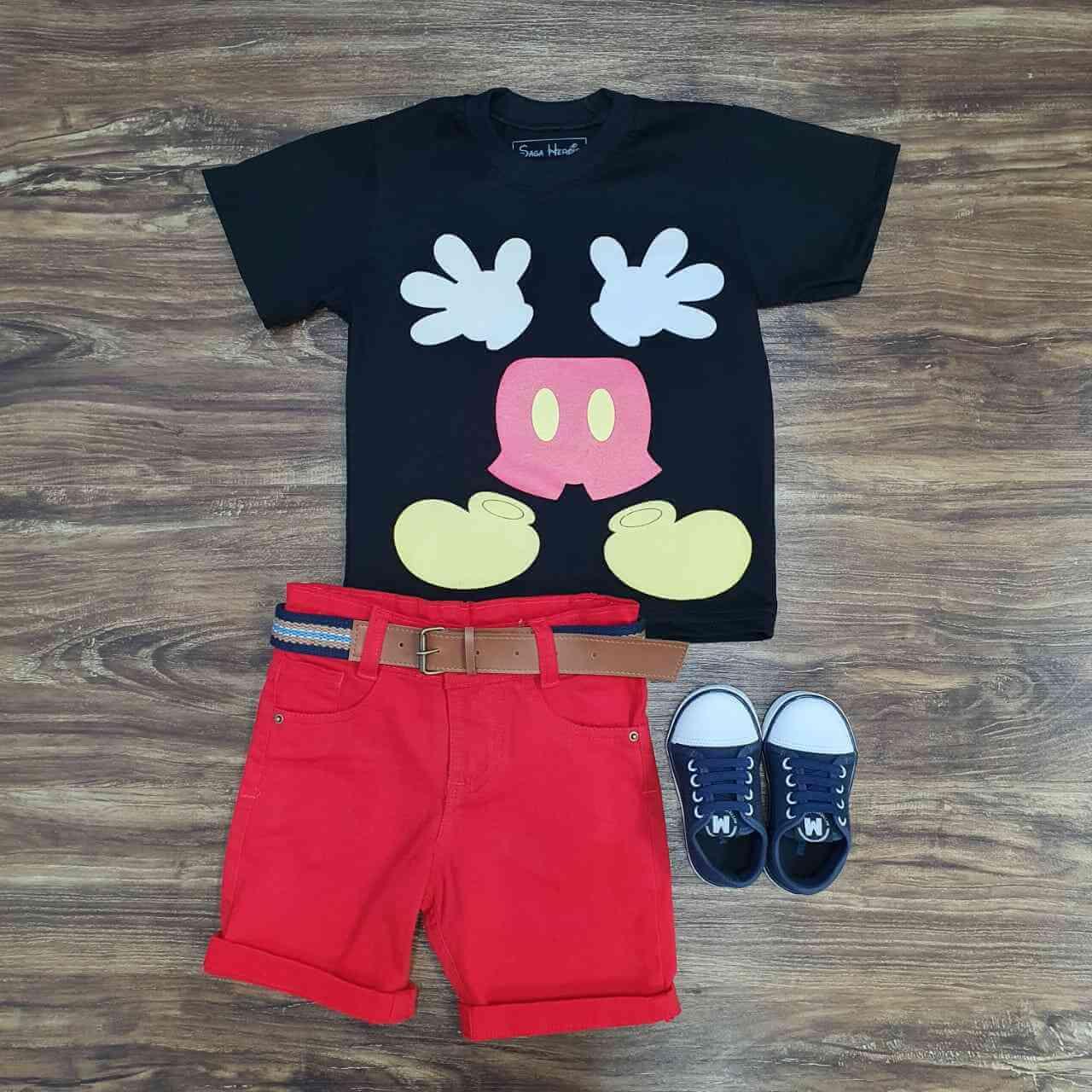 Bermuda com Camiseta Preta Mickey Infantil