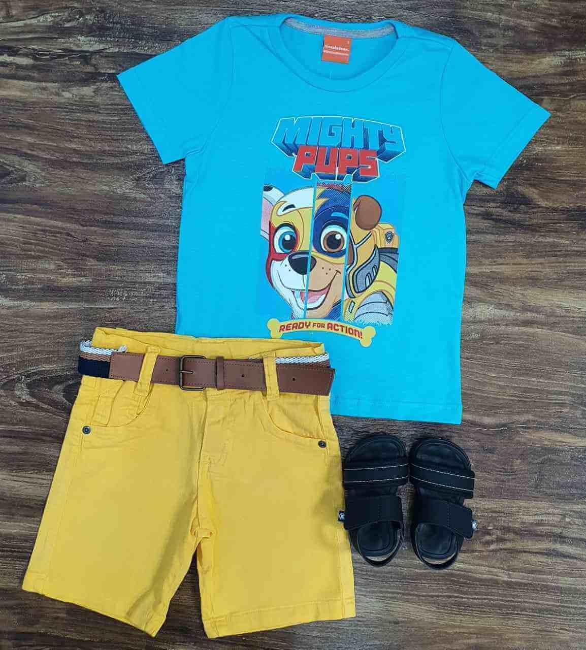 Bermuda com Camiseta Mights Pups Infantil