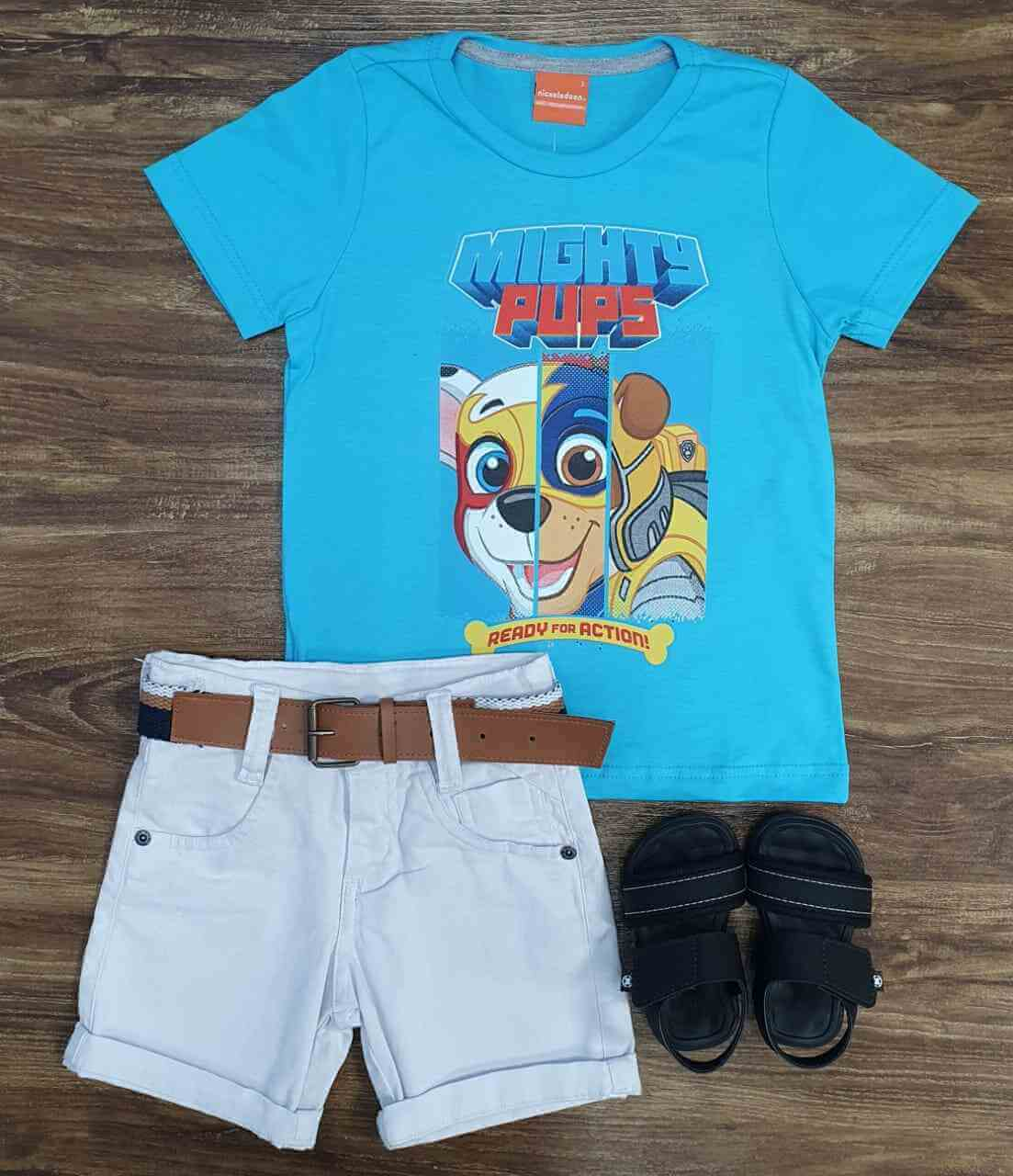 Bermuda com Camiseta Mights Pups Infantil