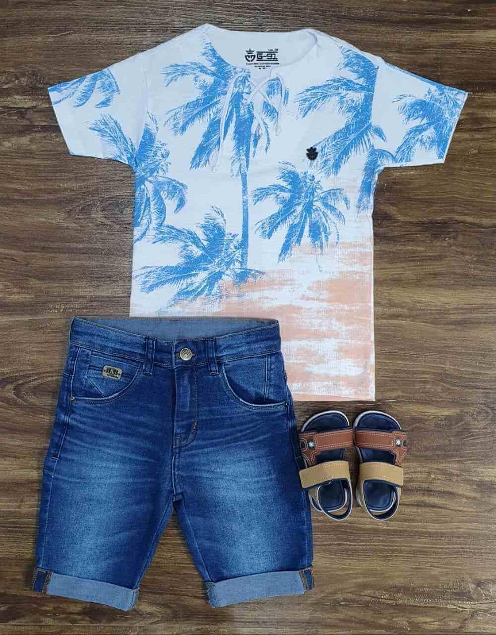 Bermuda com Camiseta Palmeira Infantil
