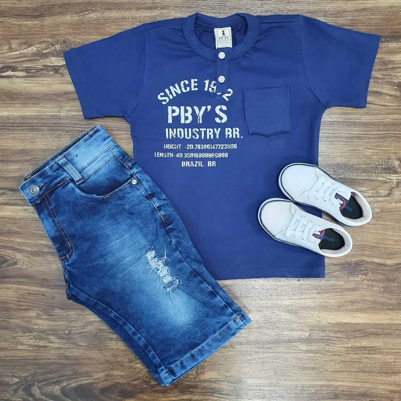 Bermuda com Camiseta PBY' S Infantil