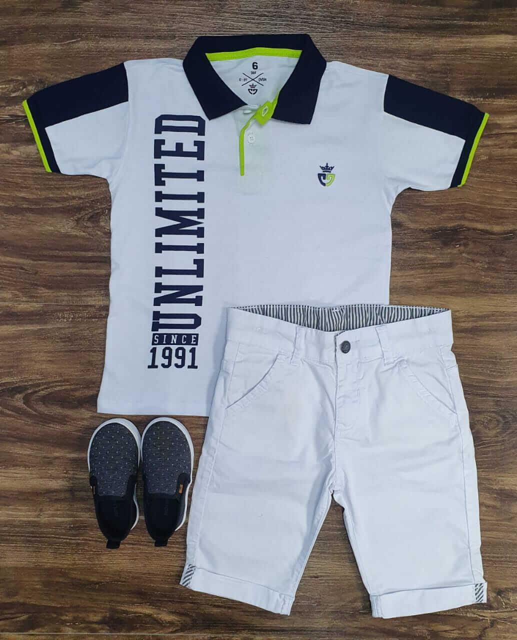 Bermuda Com Camiseta Polo Infantil