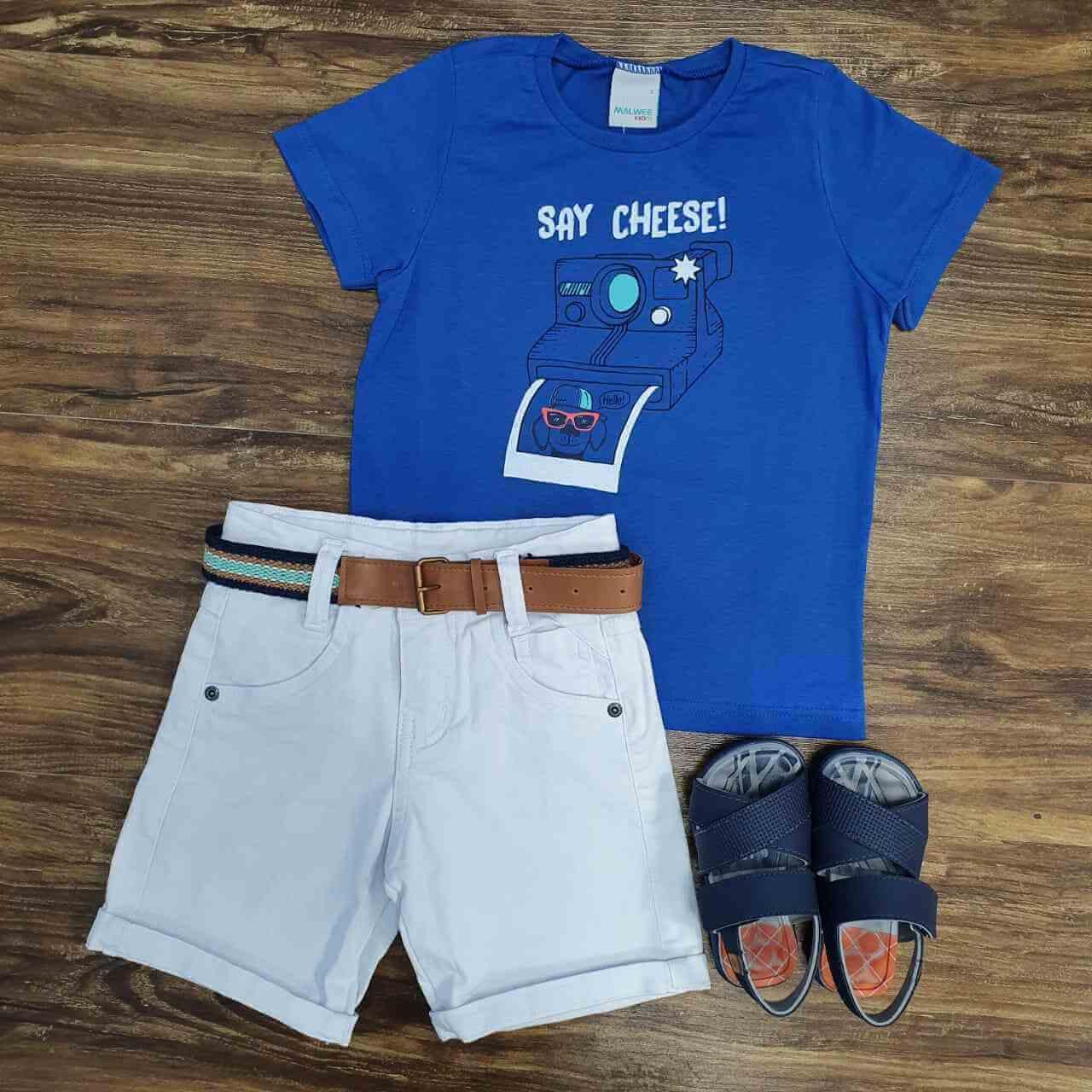 Bermuda com Camiseta Say Cheese Infantil