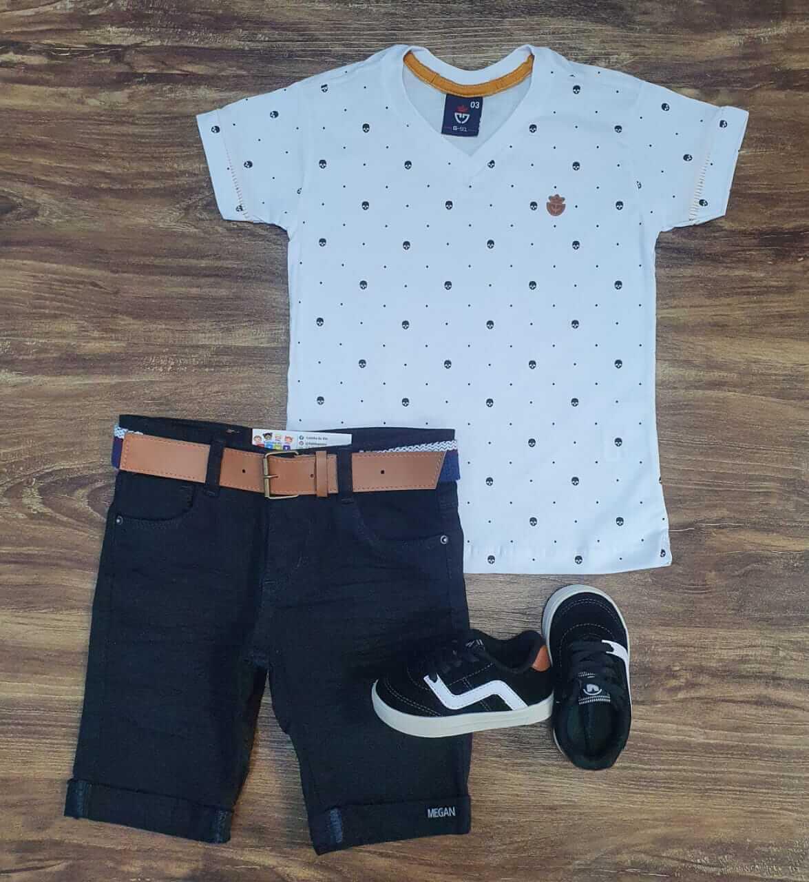 Bermuda com Camiseta Skull Infantil