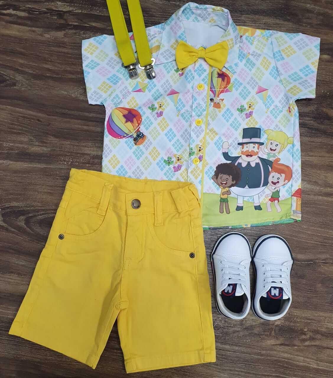 Bermuda com Suspensório e Camisa Mundo Bita com Gravata Infantil
