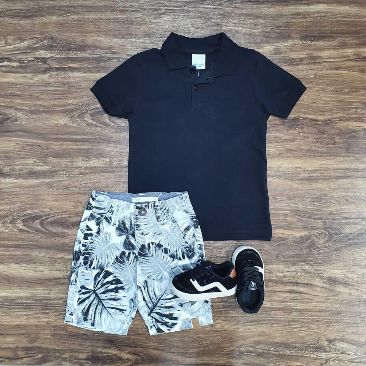 Bermuda Floral com Camisa Polo Infantil