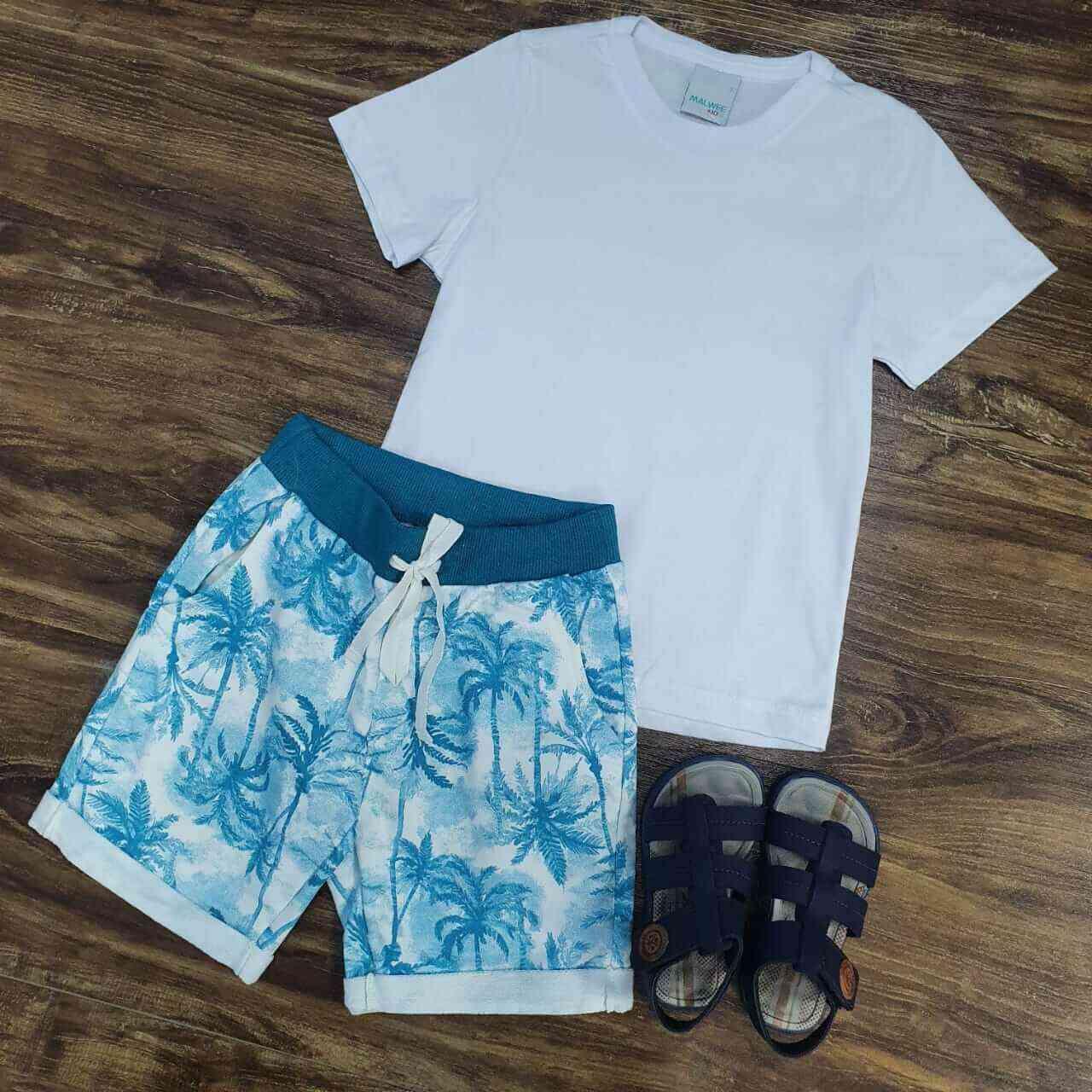 Bermuda Floral com Camiseta Branca Infantil