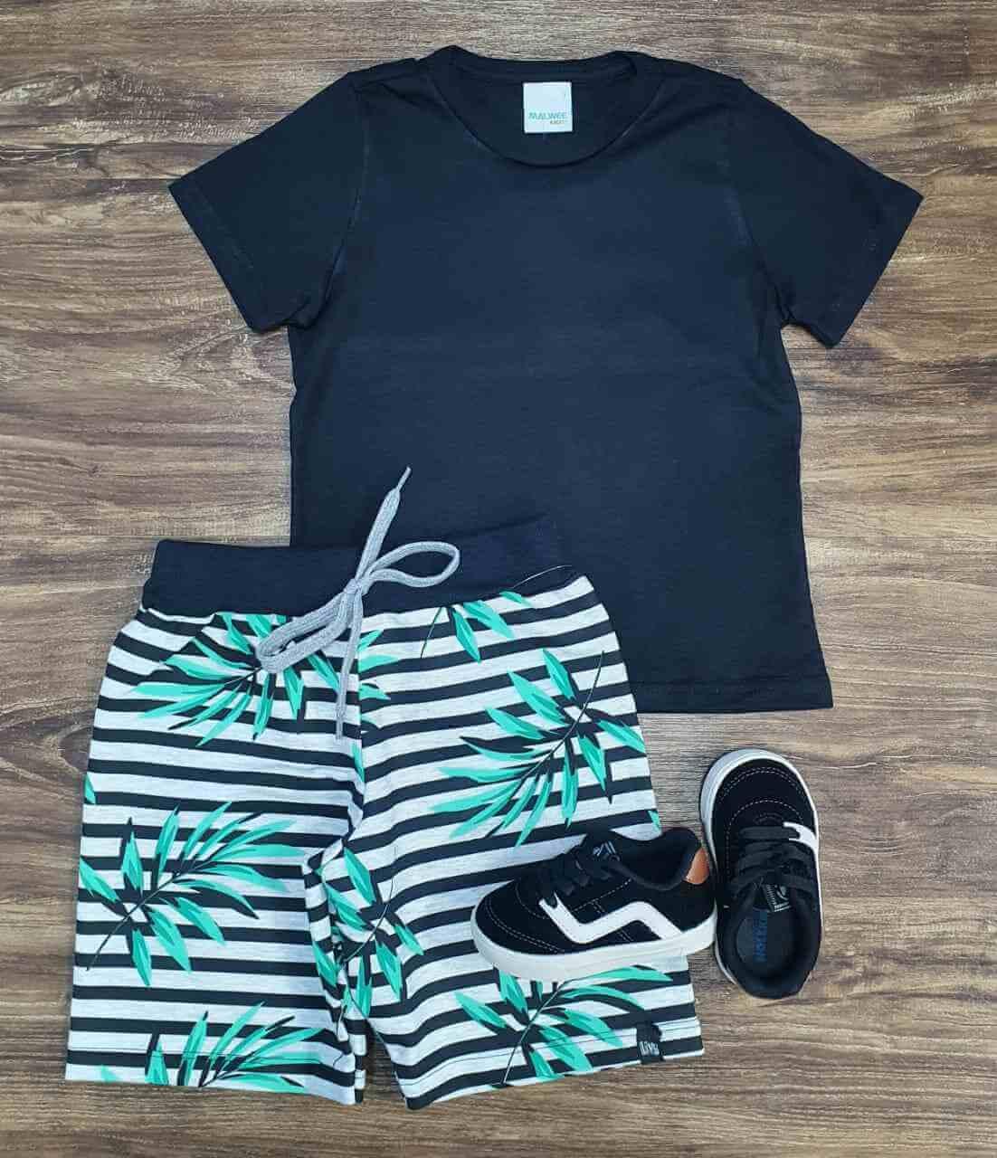 Bermuda Folhagens com Camiseta Infantil