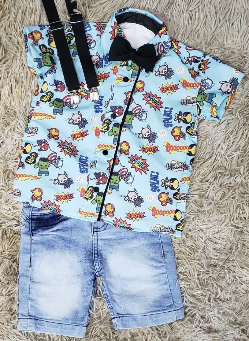 Bermuda Jeans Clara com Suspensório e Camisa Heróis com Gravata
