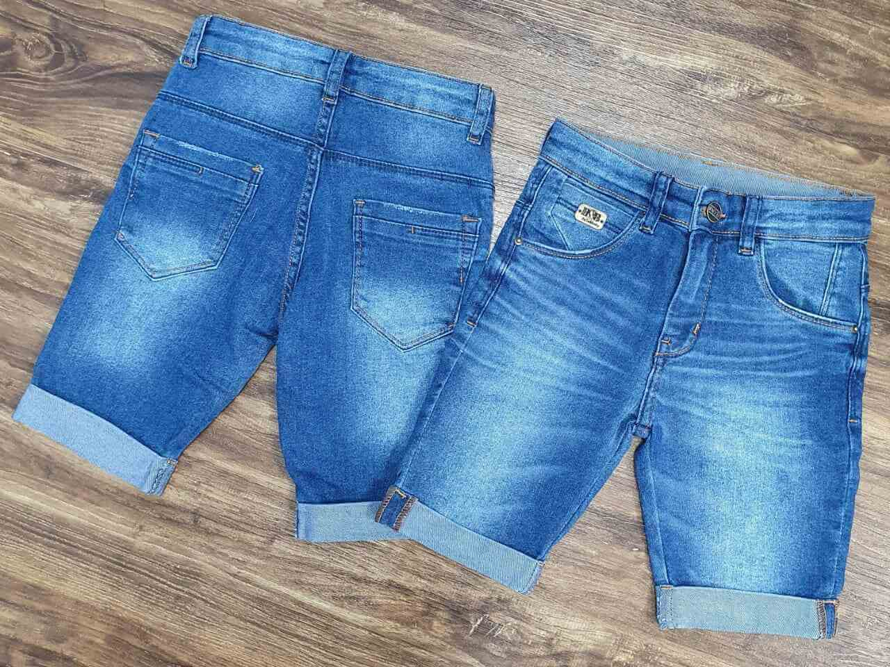 Bermuda Jeans com Barra Dobrada Infantil