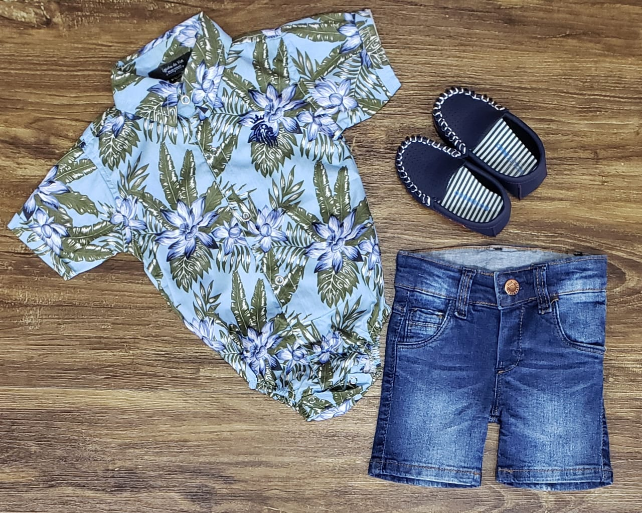 Bermuda Jeans Com Body Floral Infantil