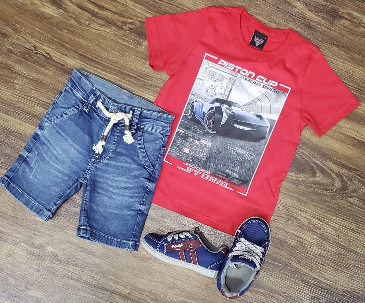 Bermuda Jeans Com Camiseta Carros McQueen Infantil