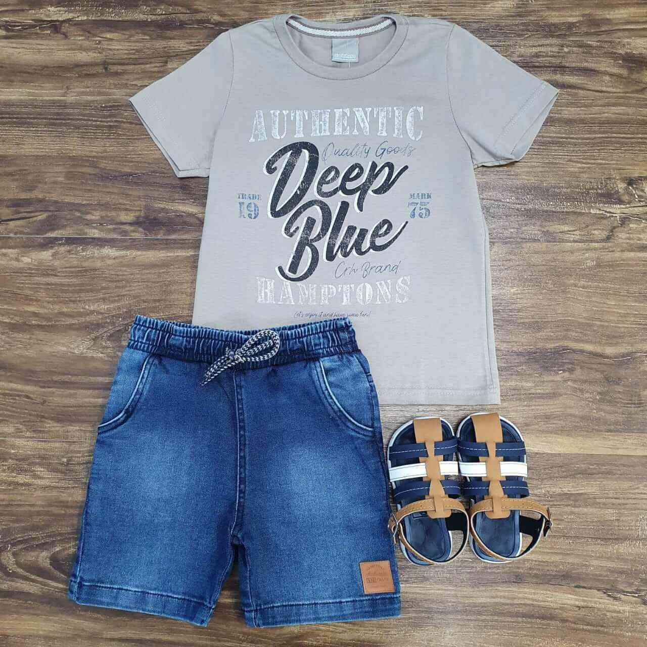 Bermuda Jeans com Camiseta Deep Blue Infantil