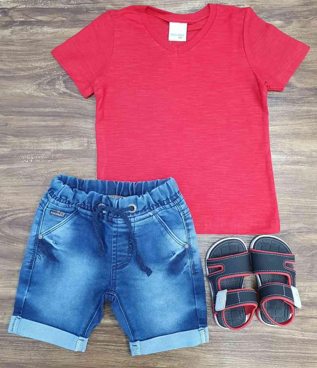 Bermuda Jeans com Camiseta Infantil