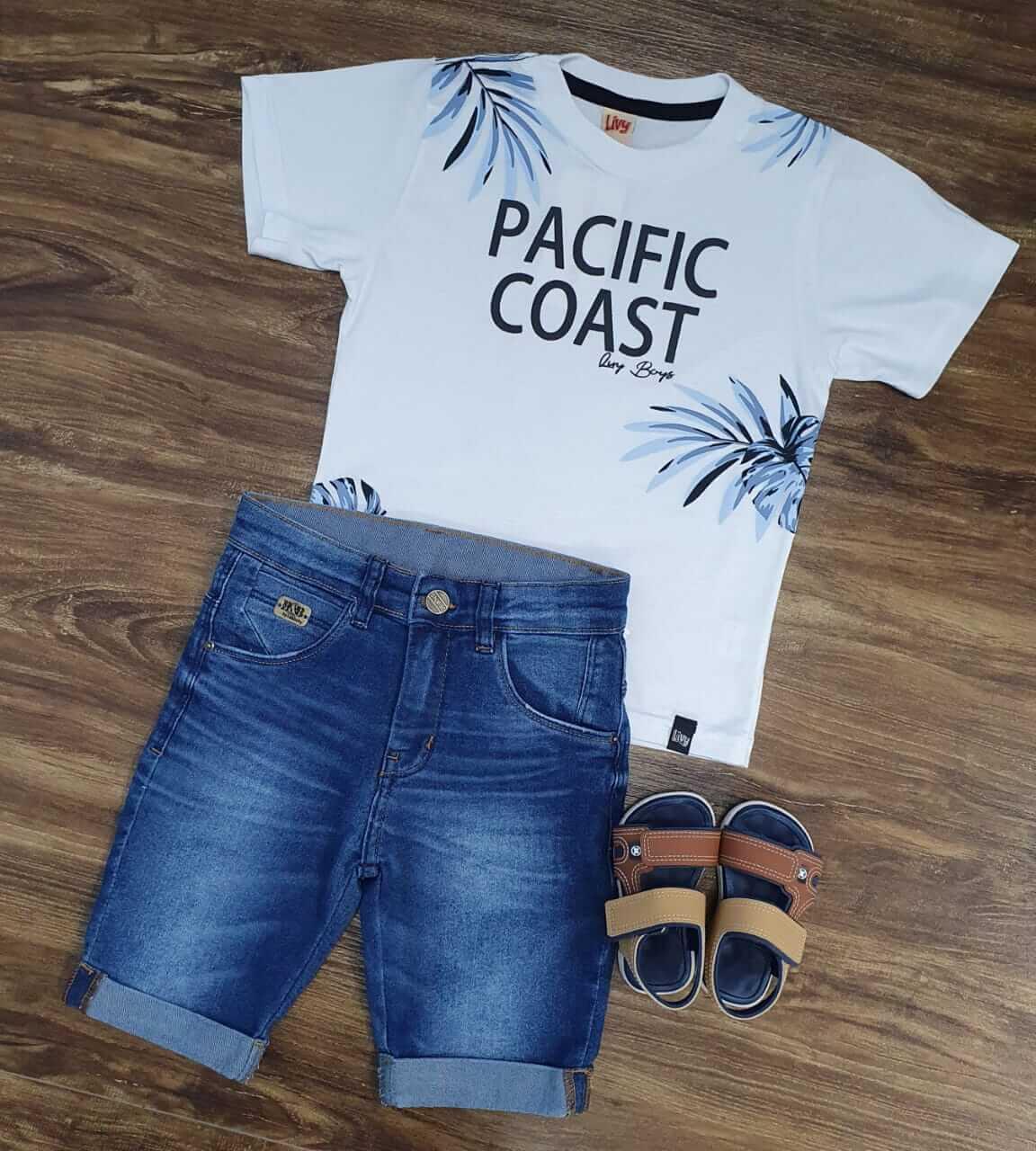Bermuda Jeans com Camiseta Pacific Coast Infantil