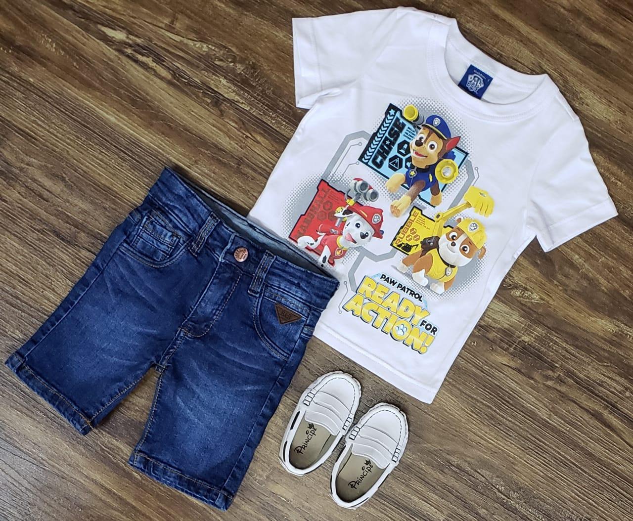 Bermuda Jeans com Camiseta Patrulha Canina Branca