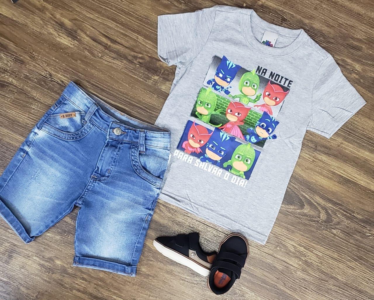 Bermuda Jeans com Camiseta PJ Masks Infantil