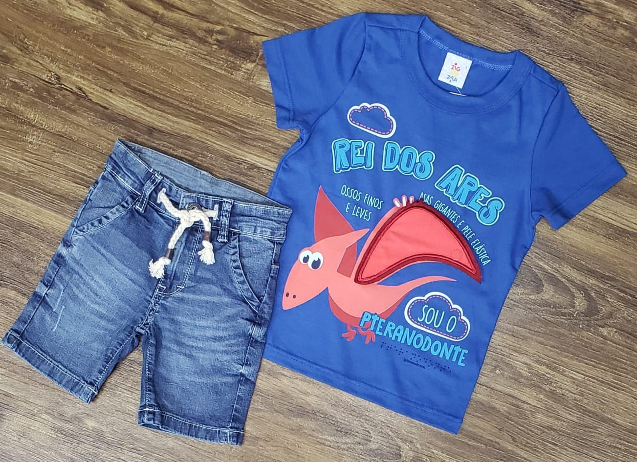 Bermuda Jeans Com Camiseta Rei Dos Ares