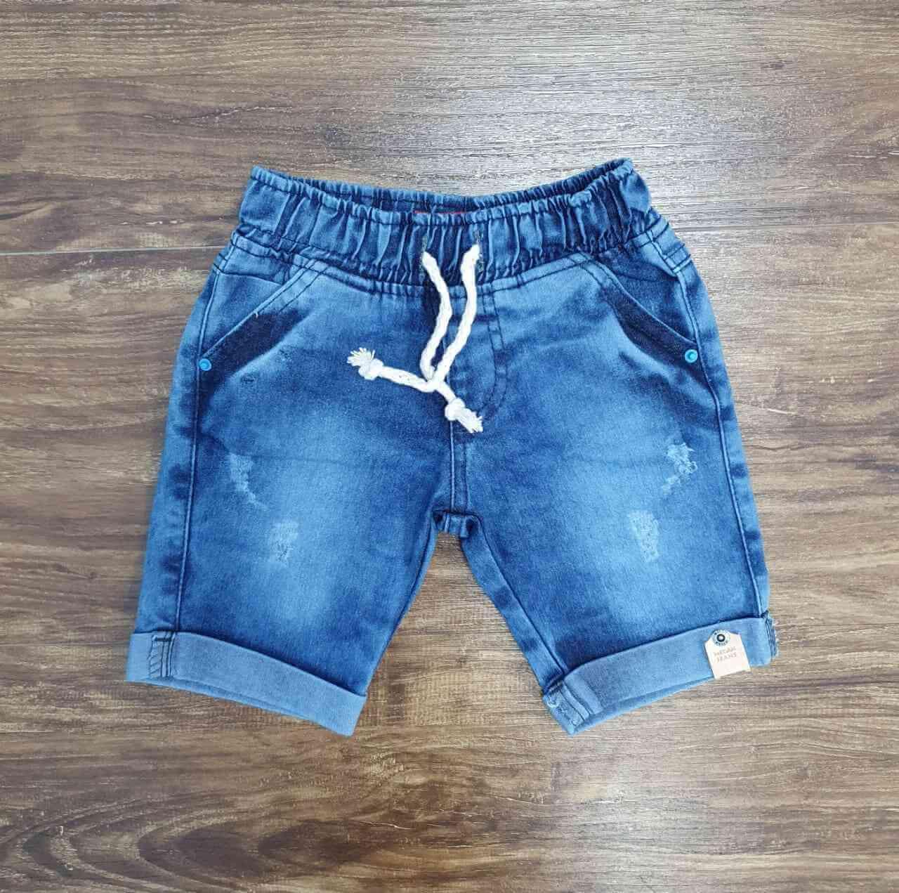 Bermuda Jeans com Detalhes e Cordão Infantil
