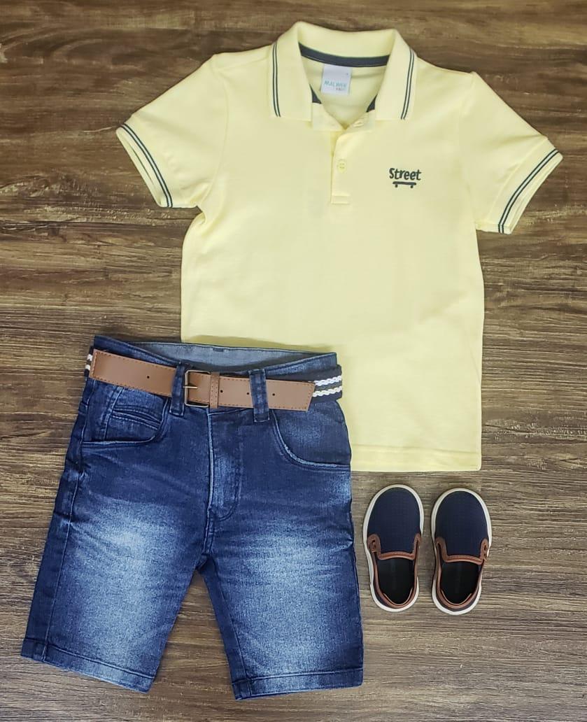 Bermuda Jeans com Polo Amarela
