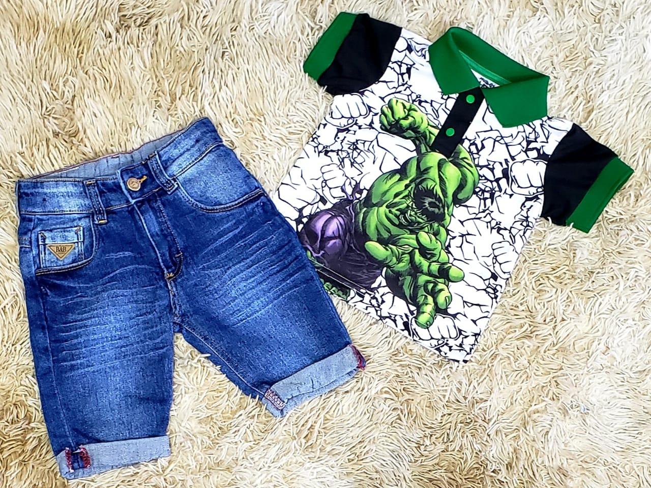 Bermuda Jeans com Polo O Incrível Hulk