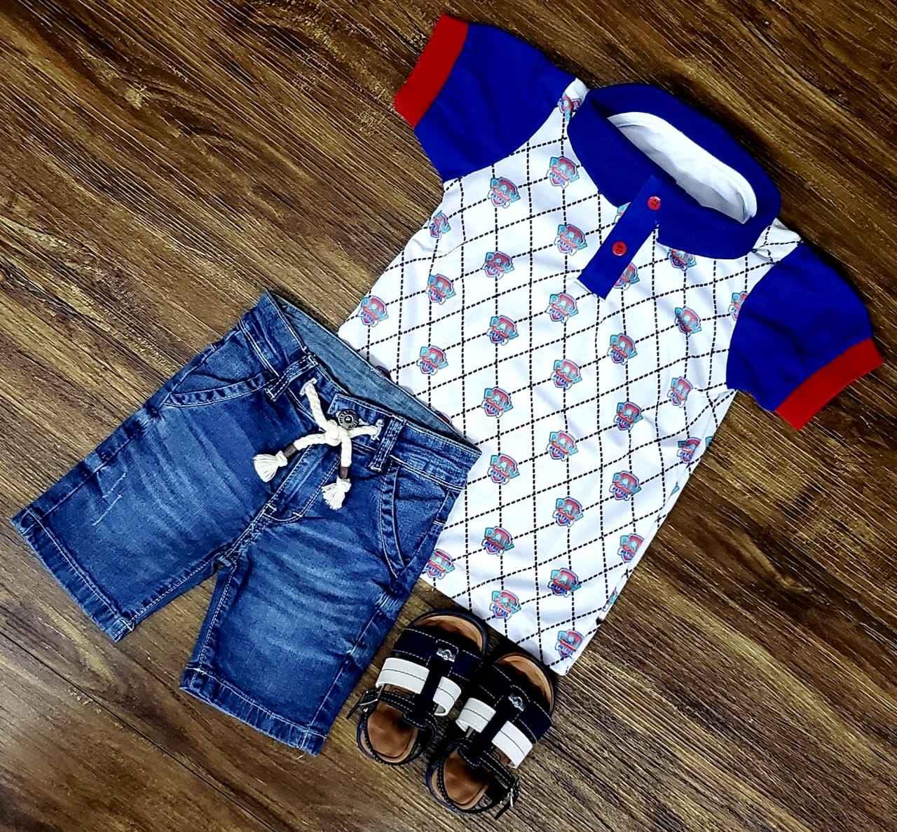 Bermuda Jeans com Polo Patrulha Canina