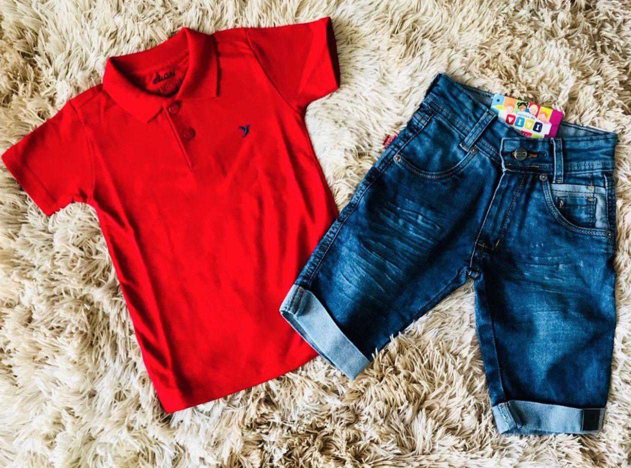 Bermuda Jeans com Polo Vermelha