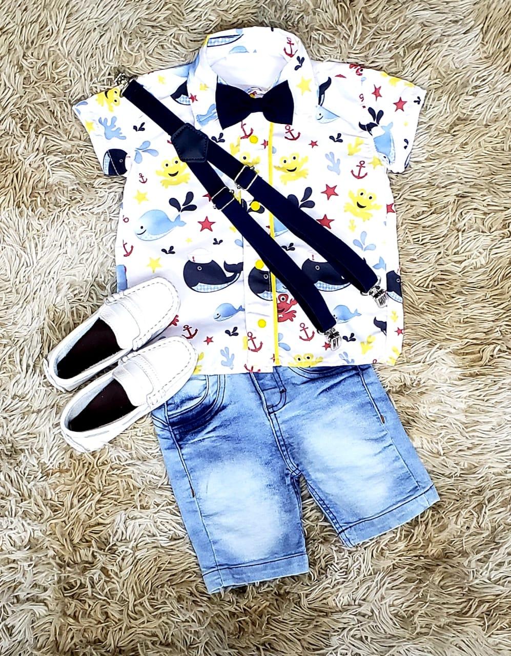Bermuda Jeans com Suspensório e Camisa Fundo do Mar com Gravata