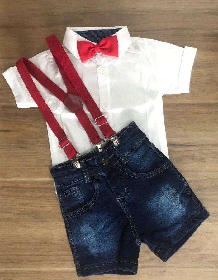Bermuda Jeans com Suspensório e Camisa Social com Gravata