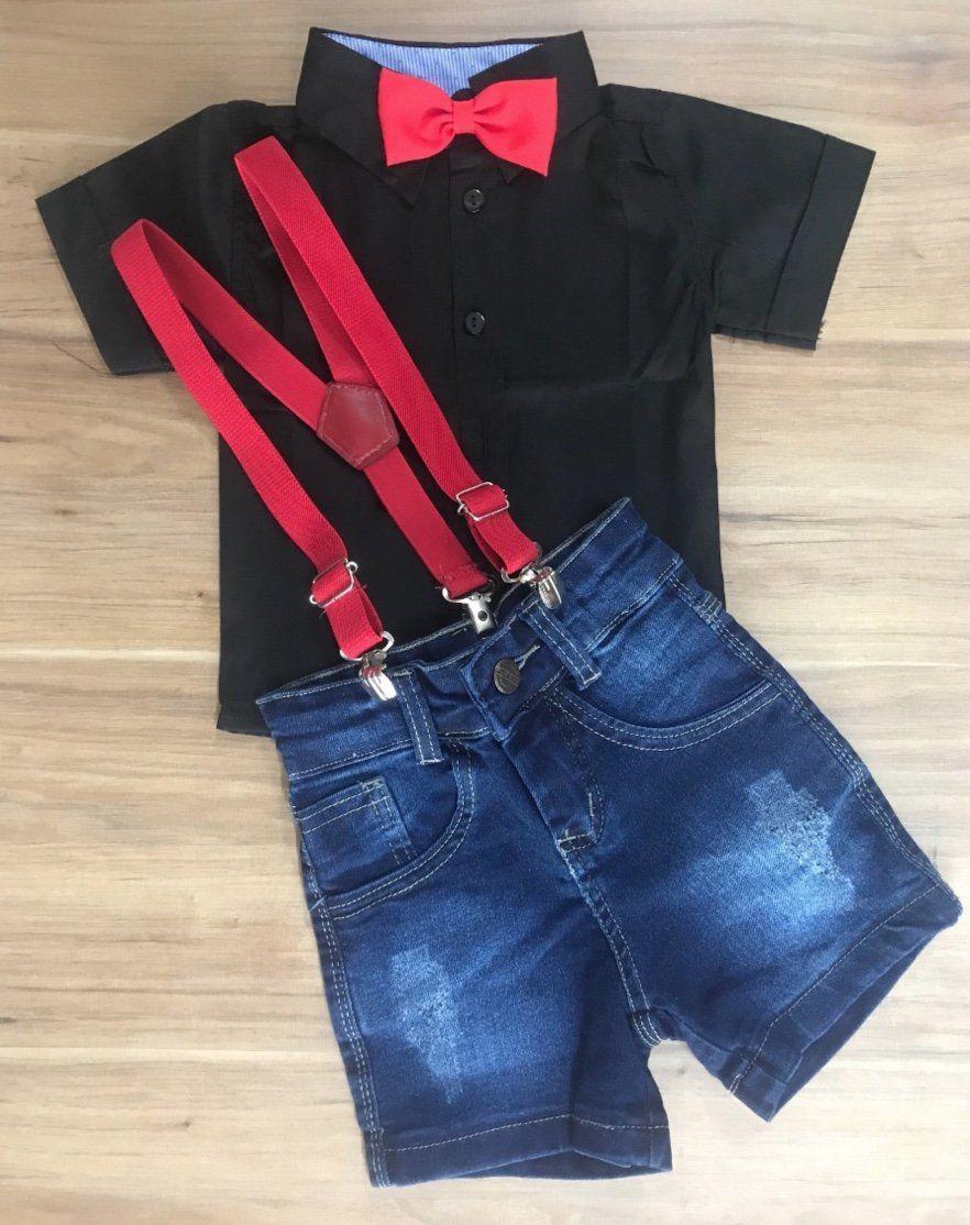 Bermuda Jeans com Suspensório e Camisa Social Preta com Gravata