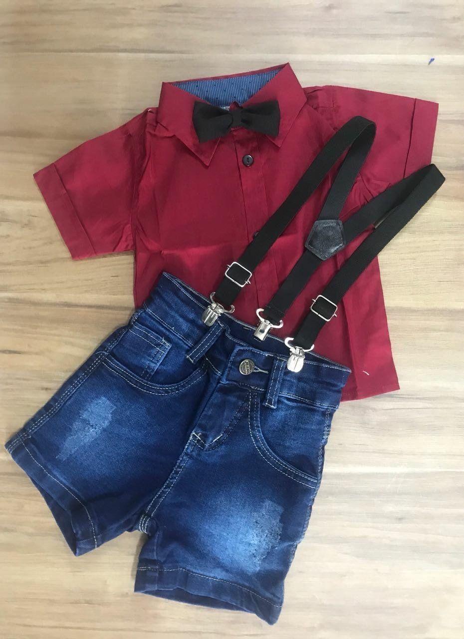 Bermuda Jeans com Suspensório e Camisa Social Vermelha com Gravata
