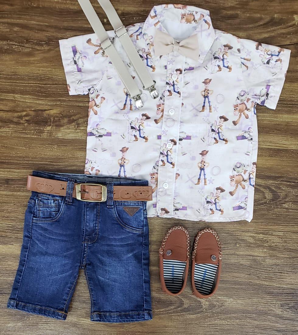 Bermuda Jeans com Suspensório e Camisa Toy Story com Gravata - Look Toy Story