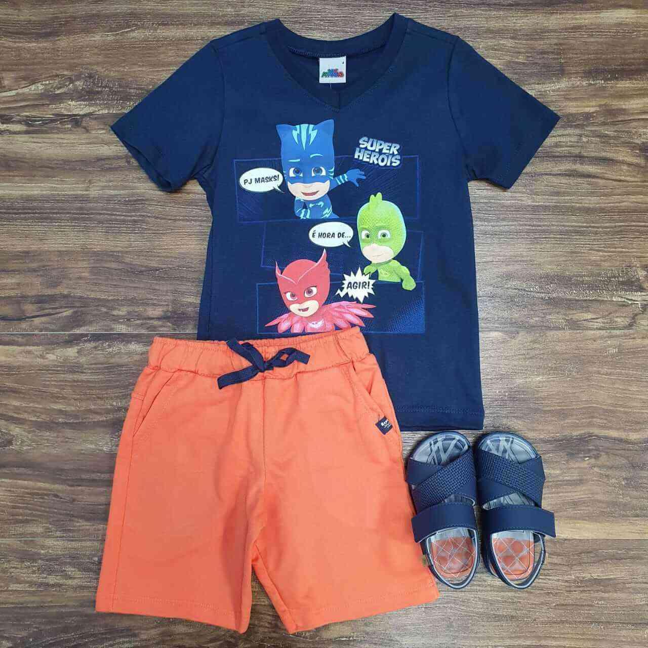 Bermuda Laranja com Camiseta Pj Masks Infantil