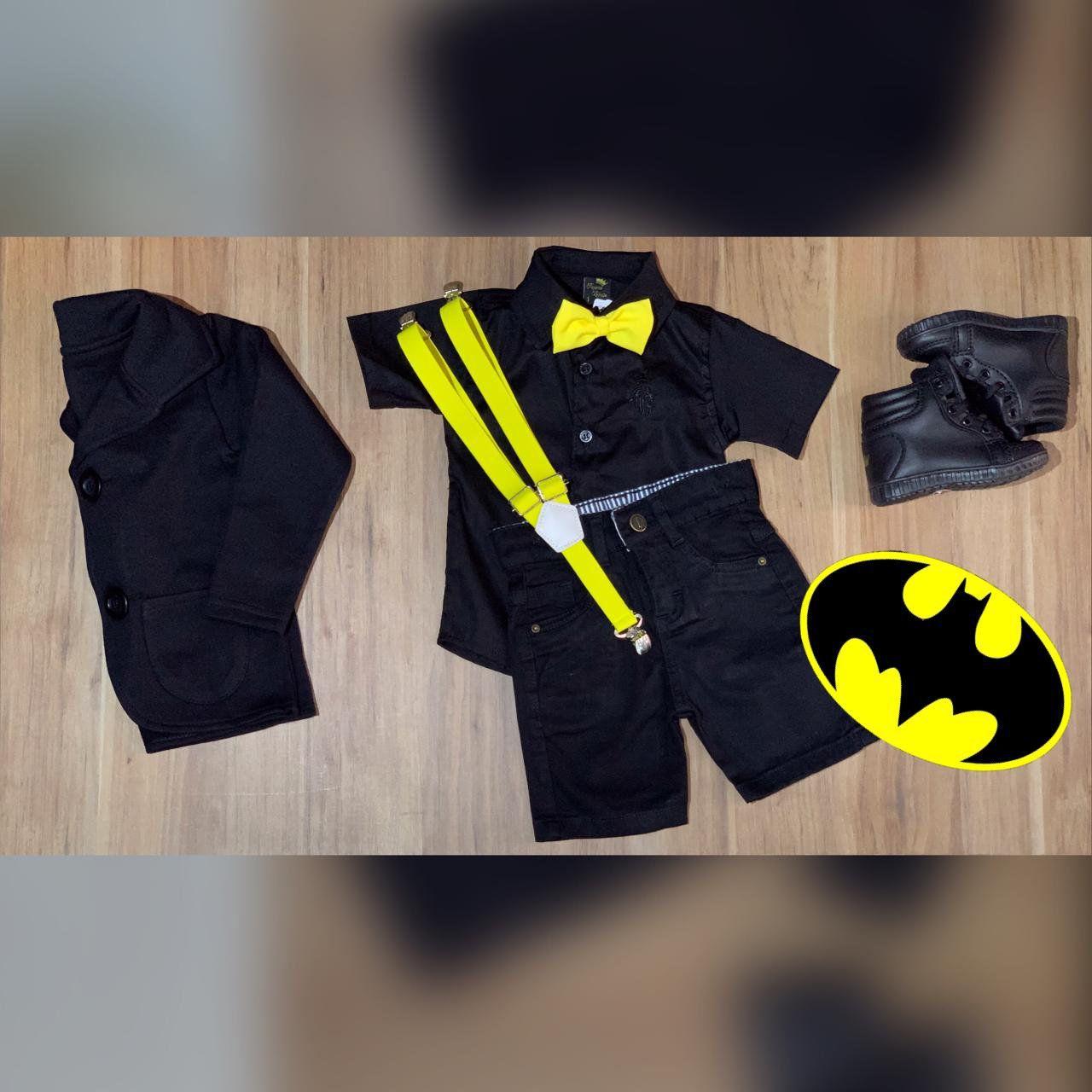 Bermuda mais Camisa Social com Blazer e Suspensório Gravata - Look Batman