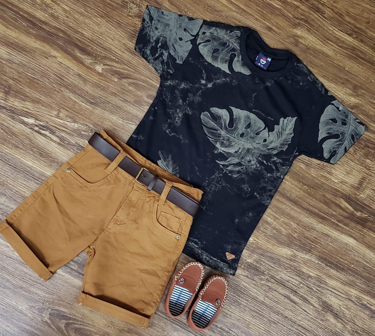 Bermuda Marrom com Camiseta Floral Infantil