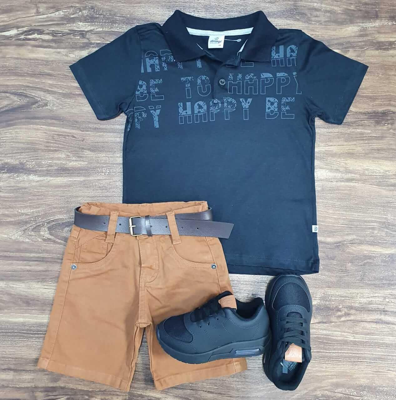 Bermuda Marrom com Camisa Polo Happy Infantil