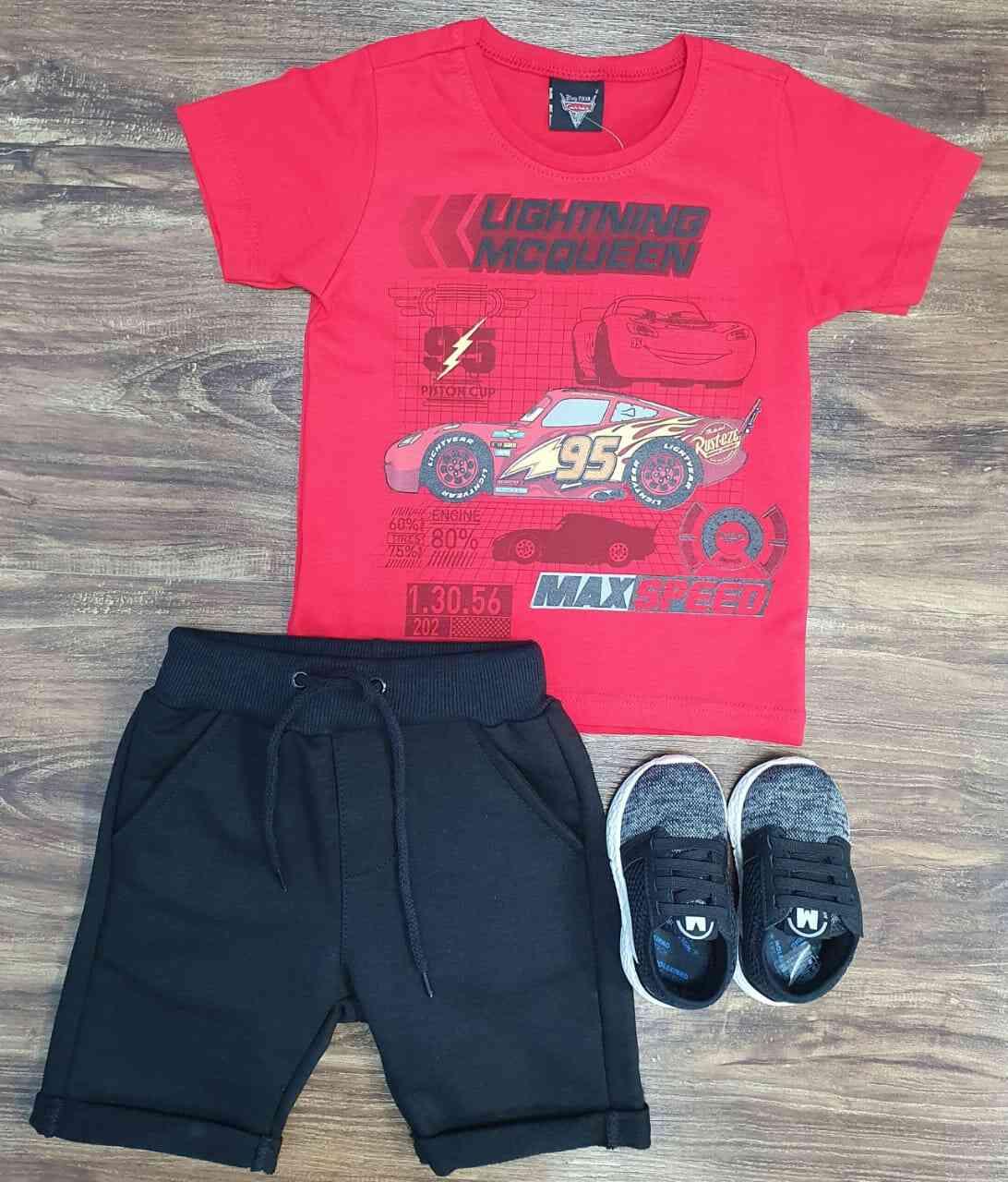 Bermuda Moletom Barra Dobrada com Camiseta Carros infantil