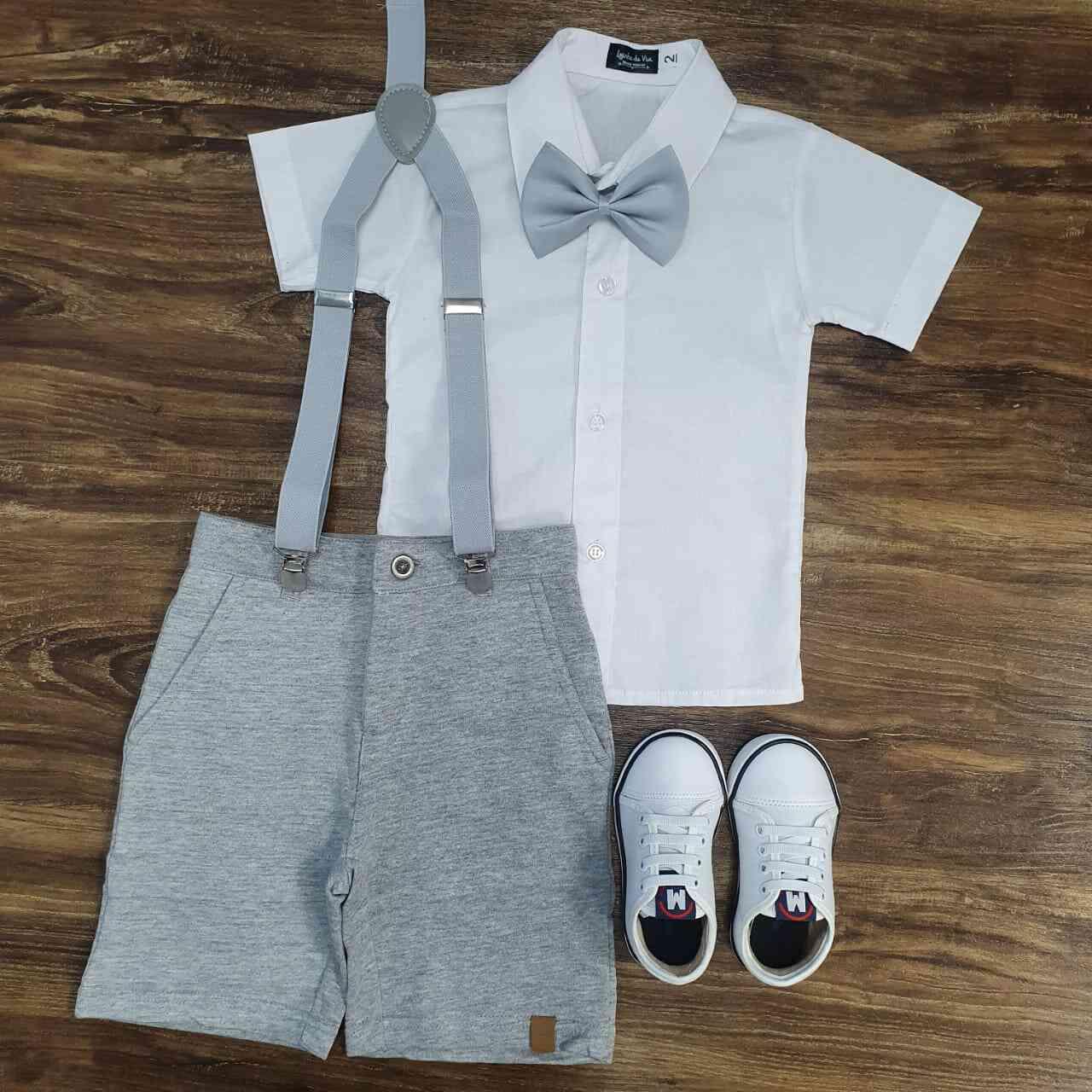 Bermuda Moletom com Camisa Infantil