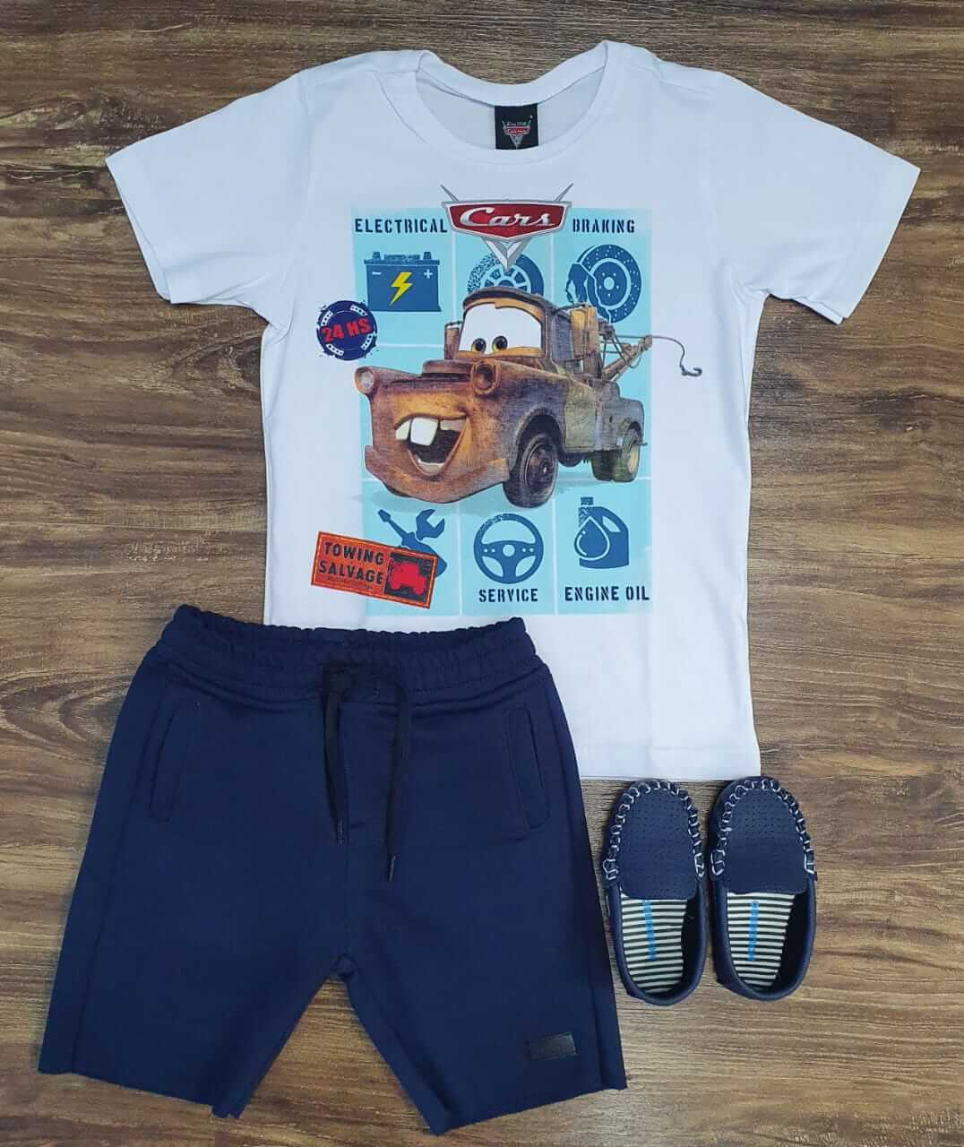 Bermuda Moletom com Camiseta Carros Infantil