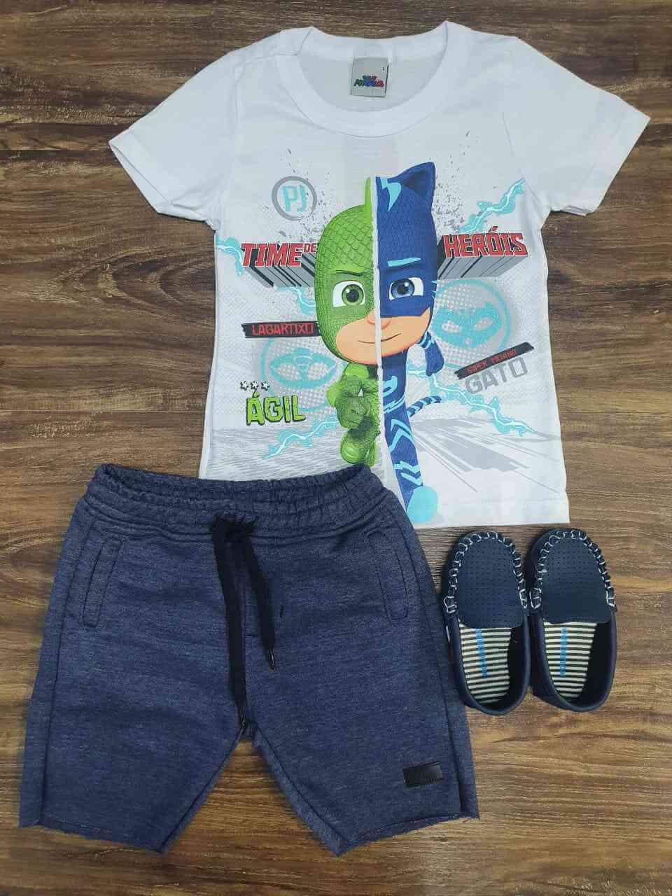 Bermuda Moletom com Camiseta PJ Masks Infantil