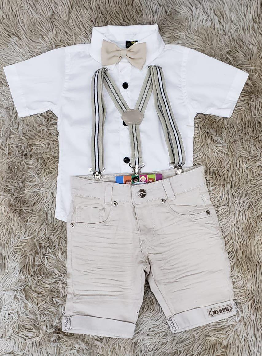 Bermuda Nude com Suspensório e Camisa Social Branca com Gravata