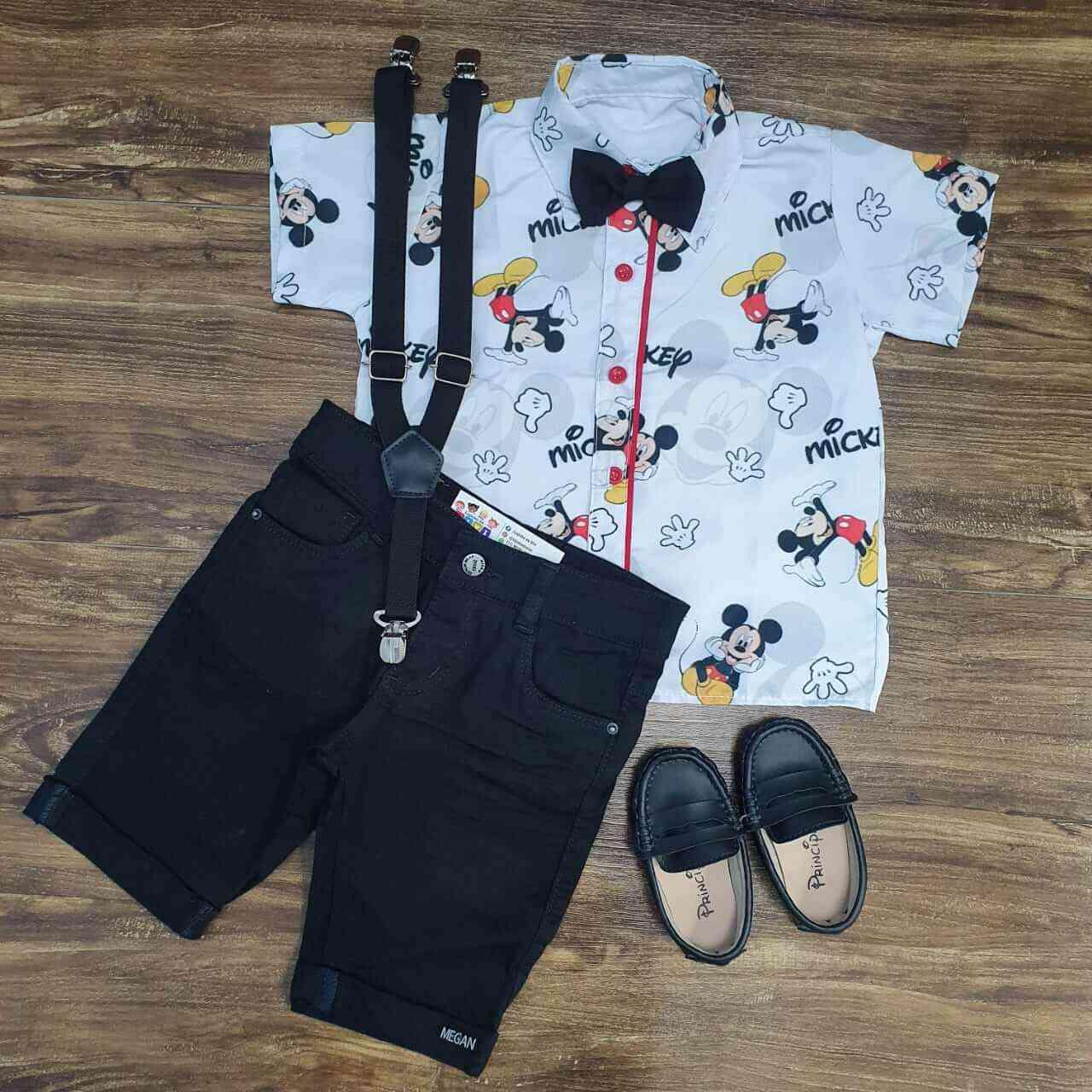 Bermuda Preta com Camisa Mickey Infantil