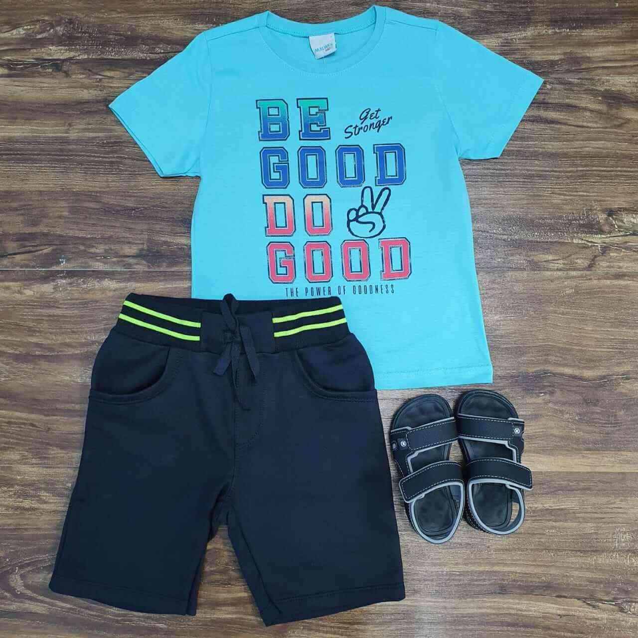 Bermuda Preta com Camiseta Good Azul Infantil