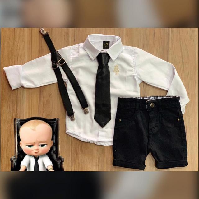 Bermuda Preta com Suspensório e Camisa Branca com Gravata - Look Poderoso Chefinho