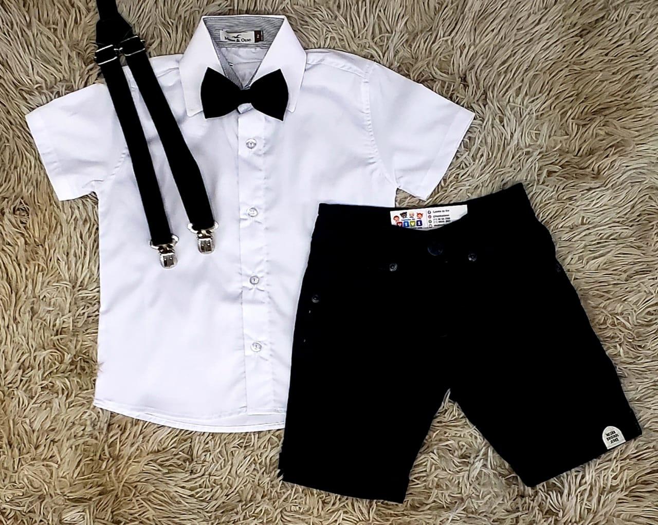 Bermuda Preta com Suspensório e Camisa Social Branca com Gravata