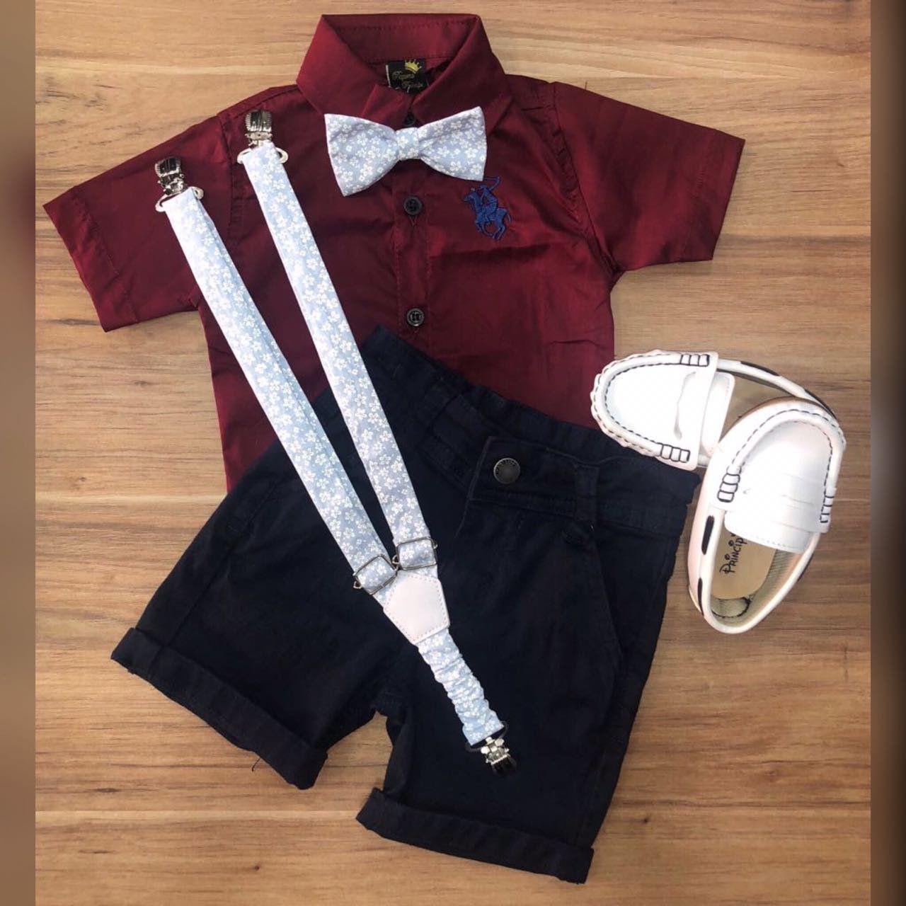 Bermuda Preta com Suspensório e Camisa Vinho com Gravata