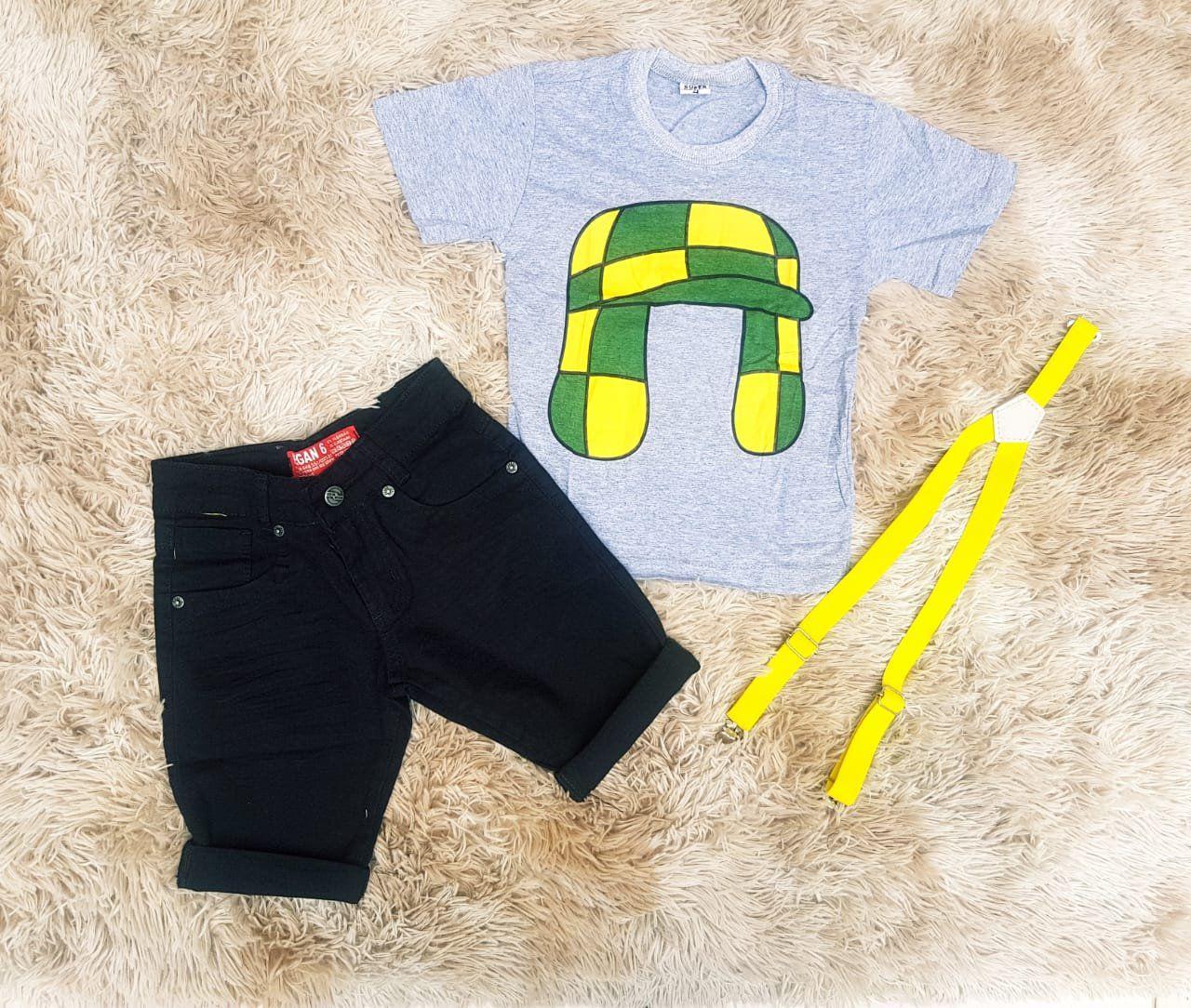 Bermuda Preta com Suspensório e Camiseta Chaves